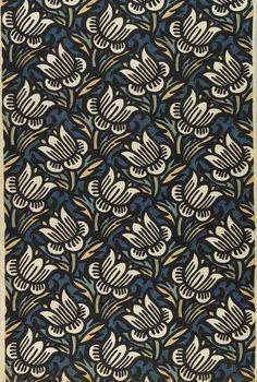 Franz von Zülow, textile design Daffodil, 1910-12. Printed linen. Made by Wiener Werkstätte, Vienna. Via Cooper Hewitt