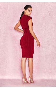 14707670ecba Clothing : Bandage Dresses : 'Sophia' Wine Red Ribbed Cupped Bandage Dress  House Of