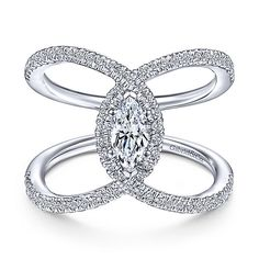 Gabriel & Co Elladora 14k White Gold Marquise Halo Engagement Ring