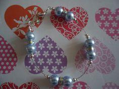 Light Blue Swarovski pearl bead & Rainbow AB Crystal spacer floating bracelet. Something blue jewellery. Various sizes available. Handmade by HazelsWeddingShop on Etsy