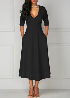 Half Sleeve Pocket Design High Waist Dress on sale only US$34.42 now, buy cheap Half Sleeve Pocket Design High Waist Dress at liligal.com