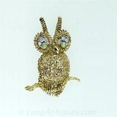 1950 s Artistic Owl Motif Brooch Main View