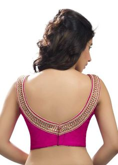 Glamorous Pink Designer Cocktail Party Sari Blouse X-286NS Look sexy and glamorous in this outstanding designer blouse. This blouse has a beautiful boat shapedneck lineembellishedwith intricate kundan embroidered borders. A bold and sexy cut at the back gives it and oomph and sizzle. Wear it, flaunt it and be the dazzling diva of your next party. Size Chart: Small (Bust size 32-34), Medium (Bust Size: 36-38), Large (Bust Size: 40-42), XL (Bust Size: 44-46), 1X Bust Size: (48-50)…