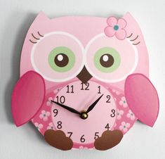 Sweet Little Owl Wooden WALL CLOCK for Girls Bedroom Baby Nursery. $45.00, via Etsy.