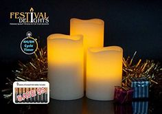 Flameless Candles By Festival Delights®- Real Wax, 9pc Duracell® Batteries Included, Cream Color, Cycle Timer, Remote Control, LED Candles, Flameless Candle Set, Battery Operated, Decorations, Centerpieces Festival Delights