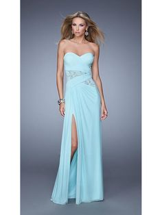 Long Blue Sweetheart Chiffon Lace Side Slit Party Evening Prom Dresses 1602078