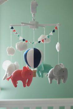 Baby mobile Elephant mobile Hot Air Balloon mobile crib