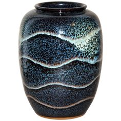 Vintage Japanese Studio Vase with Controlled Waves of Flambe Glaze | From a unique collection of antique and modern ceramics at https://www.1stdibs.com/furniture/asian-art-furniture/ceramics/
