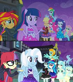 """An alternate version of """"No Second Prances"""", with Trixie Lulamoon, Sunset Shimmer and Adagio Dazzle as guest stars. My Little Pony Poster, My Little Pony Rarity, My Little Pony Cartoon, My Little Pony Twilight, My Little Pony Characters, My Little Pony Drawing, My Little Pony Pictures, Twilight Equestria Girl, Equestria Girls"""