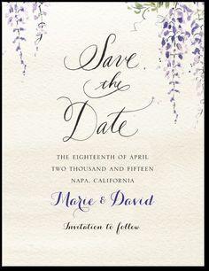 Wedding Paper Divas Wisteria Wonder: Velvet Rope Save the Dates, Invitations, Thank Yous