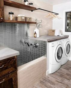 Laundry room with built in shelving. Baskets are used for small towels. Declutter your laundry room with baskets. Laundry Room Organization, Laundry Room Design, Kitchen Design, Organization Ideas, Storage Ideas, Washroom Design, Shelving Ideas, Smart Storage, Garage Storage