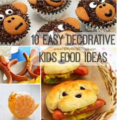 10 easy decorative fun kids food, fruit or cupcake ideas to make to entice fussy kids to eat, have fun moms. Advertisement - Continue below // Hot dog people Monkey cupcakes Teddy pancakes Chocolate nest egg cookies Puppy sandwidges Boiled egg ideas. Animal fruits Apple...