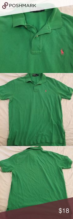 Polo Ralph Lauren shirt green pink pony Polo by Ralph Lauren shirt  polo style  Light green (not pastel but light) Pink pony men's size large  chest is 24 inches across  length is 32 inches Polo by Ralph Lauren Shirts Polos