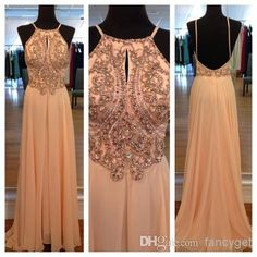 Wholesale Evening Gowns - Buy Top Sexy Hot Selling Yellow Halter Backless Beaded Long Prom Dresses 2014 A-line Floor Length Formal Dresses, $124.61 | DHgate