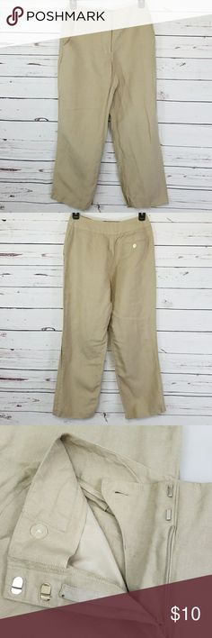 "East 5th khaki dress pants EUC east 5th khaki dress pants. 2 front pockets and a sewn shut back pocket with a mother of pearl button. Zipper, button and hook/bar closure. 55% linen, 45% rayon. Hand wash. Lay flat measurements: approximately 13"" waist, 35"" outseam, 27"" inseam, 8.5"" leg opening. Size 2 petite. East 5th Pants"