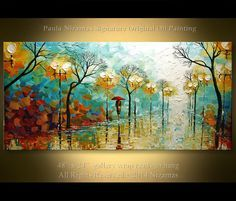 """Acrylic and Oil Park Painting on canvas stretched 48"""" PALETTE KNIFE original…"""