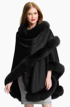 Free shipping and returns on Sofia Cashmere Genuine Fox Fur Trim Cape at Nordstrom.com. Posh fox fur trims all edges of an exquisite cashmere cape designed to wrap loosely over the shoulders.