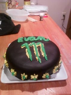 Here's the birthday cake - This is my attempt at the Monster Energy drink