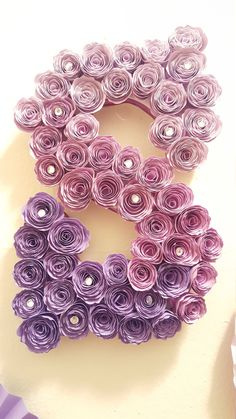 Paper flower wooden letter/ Monogram by DawnPaperPetals on Etsy