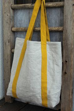 Linen Market Bag Yellow Beach Bag Natural Linen Tote Pure