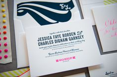 Retro Hot Pink Edge Painted Letterpress Wedding Invitations Gus Ruby Letterpress3 Jess + Charlies Retro Neon Wedding Invitations