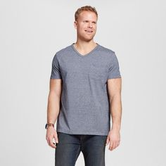 Men's Big & Tall V-Neck Jersey T-Shirt Navy (Blue) 3XB Tall - Merona