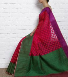 Pink Kora Cotton Saree