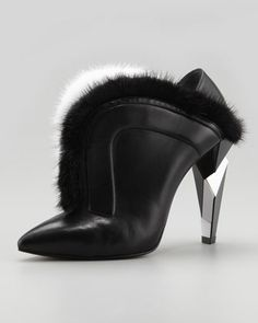 V-Neck Fur Ankle Boot, Black by Fendi at Neiman Marcus.
