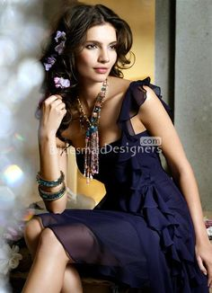 chiffon a-line indigo bridesmaid dress ruffle cascade one shoulder
