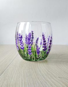 Lavender Wine Glass Gift Stemless wine glass Violet Purple Flowers glasses Personalized Gift Hand Painted Provence Decor Thanksgiving gift This is a bright and cute stemless Lavender Wine Glass. It makes a fabulous gift for weddings, anniversaries, Thanksgiving, Birthdays, it can be a great
