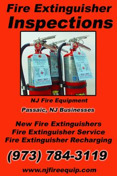 Fire Extinguisher Inspections Passaic, NJ (973) 784-3119We're NJ Fire Equipment.. The Main Source for Fire Protection for New Jersey Businesses. Call Today!  We would love to hear from you.