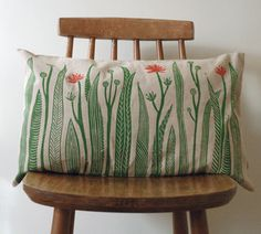 Linen Cushion Cover with Green Grass & Red flowers