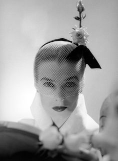 Lillian Marcuson in hat by Lilly Daché, photo by Milton Greene, New York City, 1951