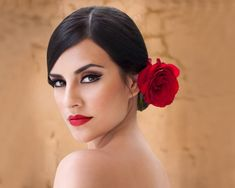 Flamenco/Spanish style hair and makeup.