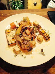 Josper roasted sticky chicken, autumn vegetables and mustard sauce, red mustard frills. Franks Steakhouse