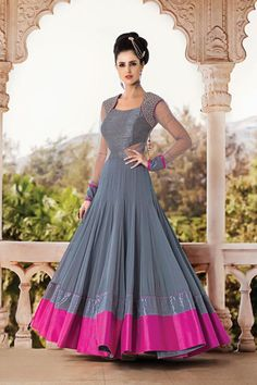 Buy Latest Salwar Kameez Designs Salwar Kameez online in India at best price.mpress everyone around with your simplicity and elegance wearing this grey color anarkali suit set out Anarkali Dress, Anarkali Suits, Lehenga, Long Anarkali, Punjabi Suits, Indian Party Wear, Indian Wear, Party Wear Dresses, Party Gowns