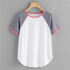 Fashion Short Sleeve Raglan Sleeve Tee Multicolor Colorblock Casual T Shirt