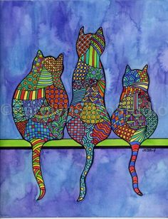 3 cats - Whimsical Art - Talk about this and then have the children pic three silhouettes of the same creature (bird, dog, cat, bat, whatever) and have them make one themselves. Frida Art, Rug Hooking Patterns, Cat Quilt, Cat Colors, Cat Crafts, Whimsical Art, Art Plastique, Elementary Art, Doodle Art