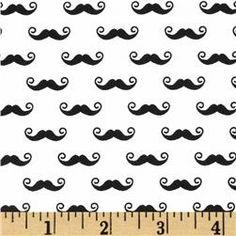 Riley Blake Geekly Chic Small Mustache White