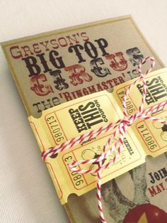 Ashley Thunder Events: Vintage Circus Birthday Party: {The Invite} Circus 1st Birthdays, Carnival Birthday Parties, Circus Birthday, Baby First Birthday, First Birthday Parties, First Birthdays, Birthday Ideas, Vintage Circus Party, Prom Themes