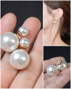 Dior Double Pearl EarringRose goldMise en by thefabbridaljewelry