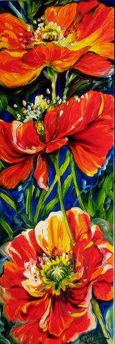POPPIES TRIPLE by M BALDWIN a FLORAL ABSTRACT in RED