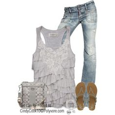 Silver and Blue Casual Ensemble with Lace Sleeveless Blouse, Washed Jeans, and Silver Flip-Flops and Handbag