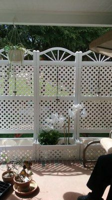 6 5 Foot Outdoor Rectangle Vinyl Sunburst Lattice Planter With Trellis Trellis Planters Planter Trellis