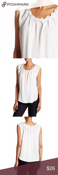 """Braided Collar Blouse braided scoop neck, approx 26"""" length, fits true to size, 100% polyester, machine wash cold  ⁉️I'm happy to answer all your questions, please ask them before you buy so I can make your purchase in my closet absolutely perfect. Tops"""