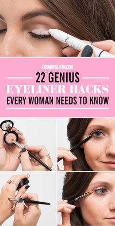 Never let your winged liner make you late for work again. Click through to check out these 22 genius eyeliner hacks every woman needs to know! Eyeliner Make-up, Eyeliner Hacks, Black Eyeliner Makeup, Winged Eyeliner Tutorial, Simple Eyeliner, How To Apply Eyeliner, Winged Liner, Eye Makeup, Makeup Hacks