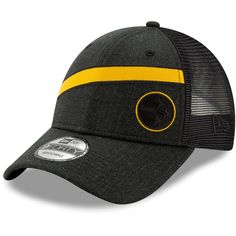 Men s Pittsburgh Steelers New Era Heathered Black Black Label Scale Trucker 9FORTY  Snapback Adjustable Hat 5b924db81