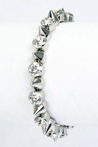 (Silver) Metal Spikes with Crystal Studded Coil Bracelet ASX Jewelry Collection. $8.95