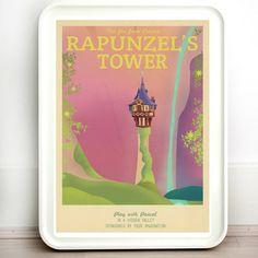 Disney Tangled Rapunzel Retro Travel Print