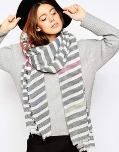 Image 1 of ASOS Lightweight Overized Scarf In Color Pop Stripe